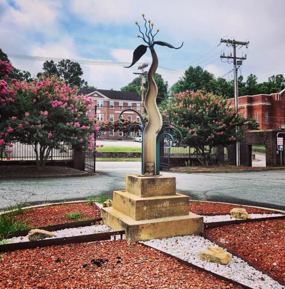 Sculpture at old Lenoir High School